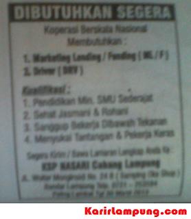 Lowongan Driver & Marketing KSP Nasari Cabang Lampung