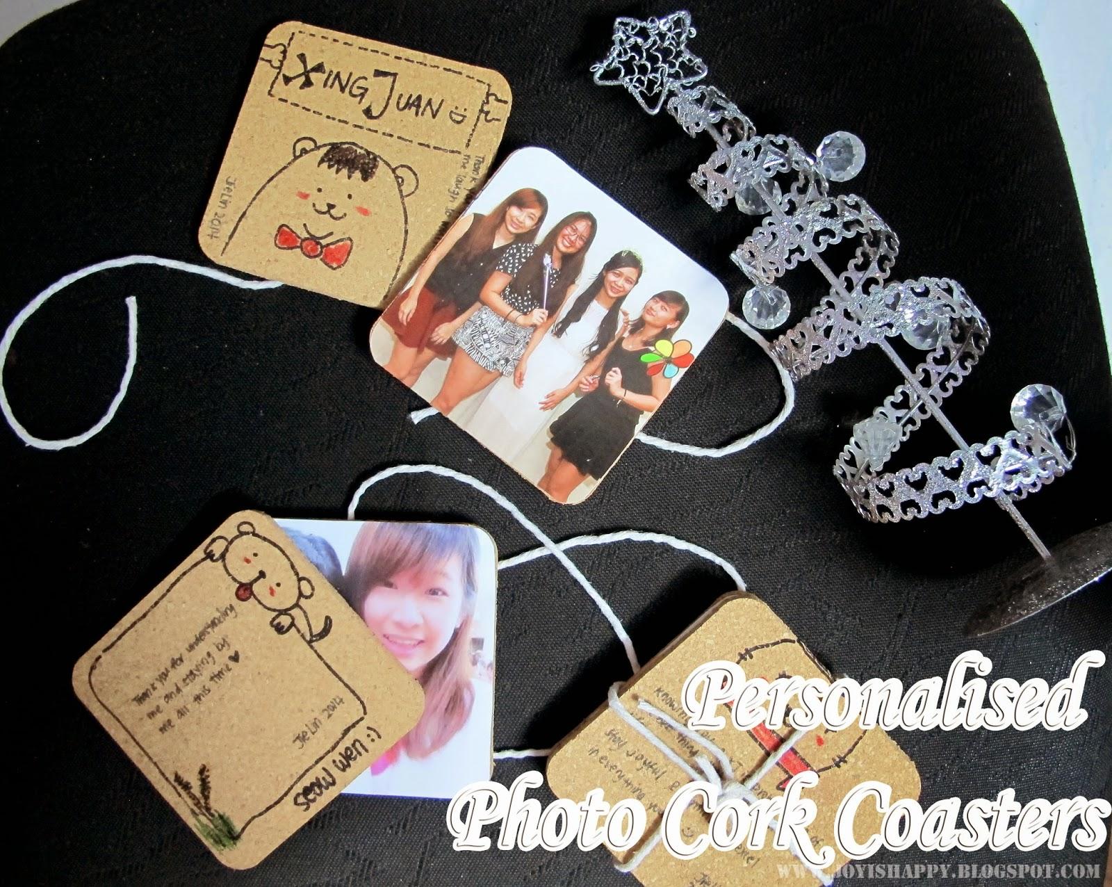 personalised photo cork coaster