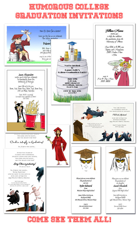 Humorous College Graduation Party Invitations | Shop Announcingit.com