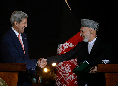 KABUL: President Hamid Karzai and US Secretary of State John Kerry held a second day of talks in Kabul Saturday after making progress over a long-delayed deal on the future of US forces in Afghanistan