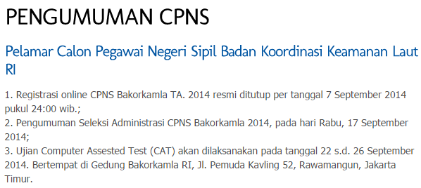 Pengumuman Kelulusan Seleksi CPNS Bakorkamla 2014