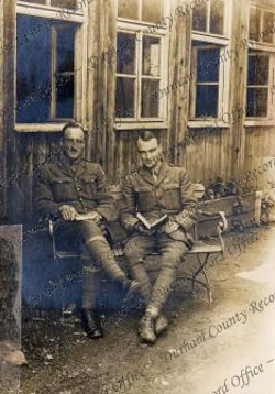 P.H.B. Lyon with fellow officer prisoner at Karlsruhe Camp, Germany, [12 June 1918] (D/DLI 7/424/3(8))