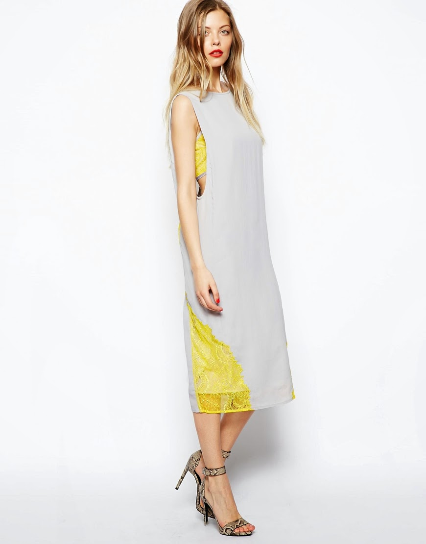 grey and yellow midi dress