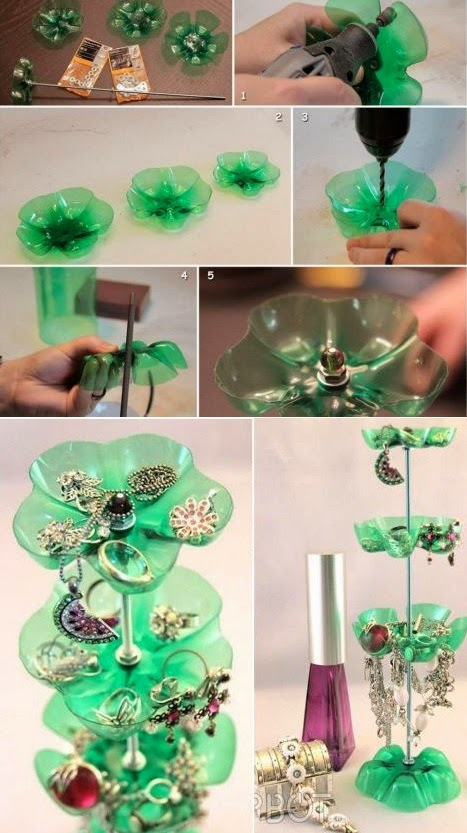 Diy plastic bottle jewelry stand diy crafts tutorials for Bottle plastic diy