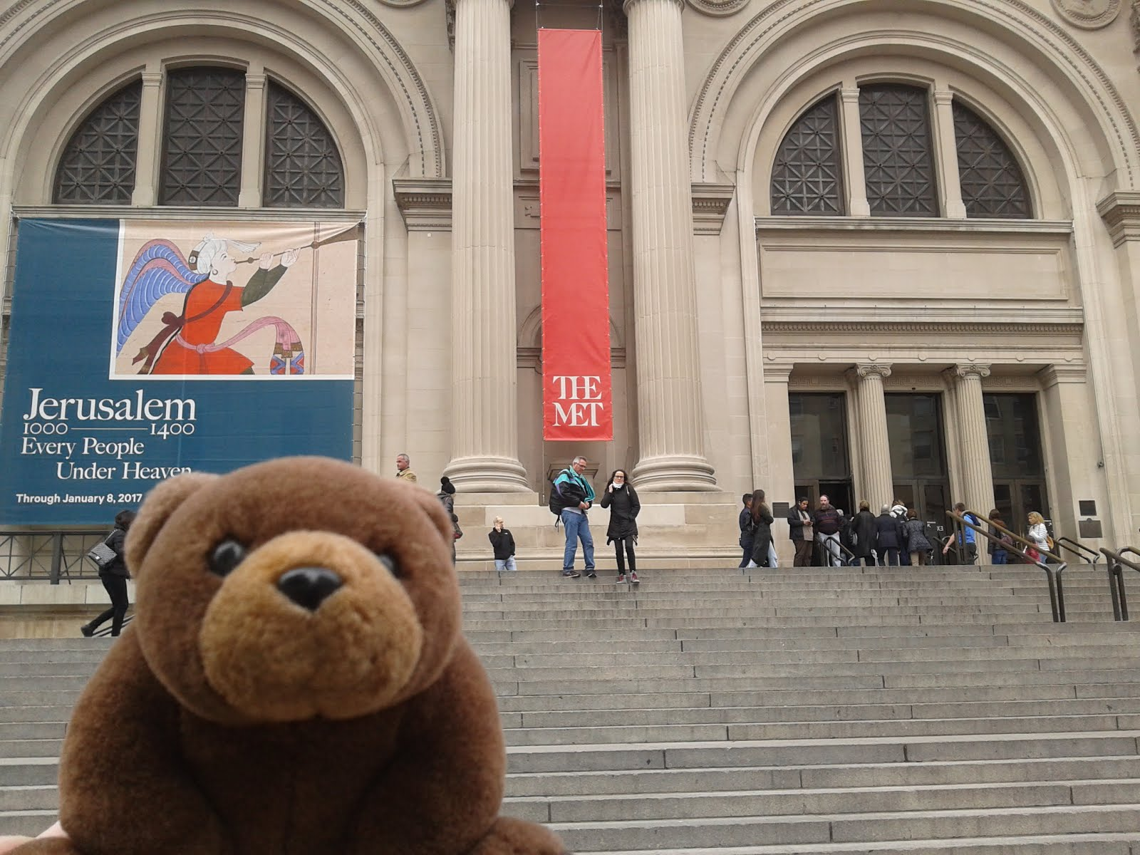 Teddy in front of The Met, New York