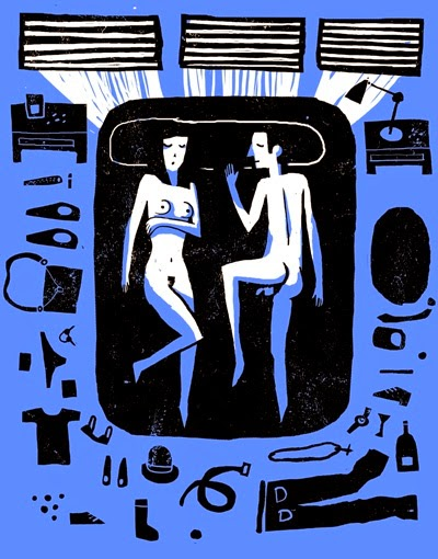 linocut illustration by Chiprilox of a naked couple in bed
