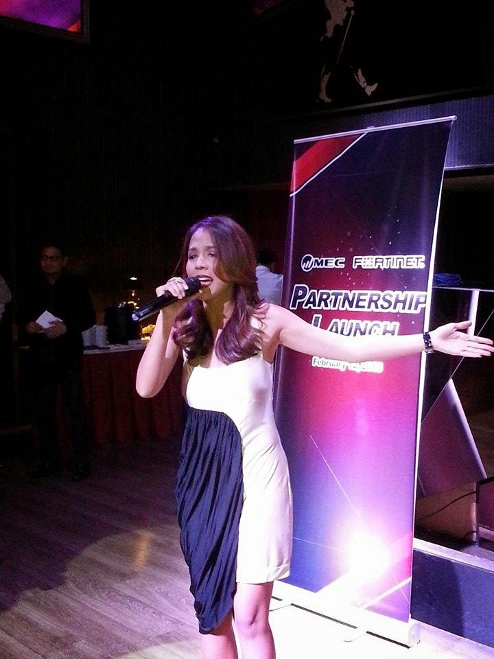 The Voice of the Philippines artist Arnee Hidalgo performs at the partnership launch in Gramercy