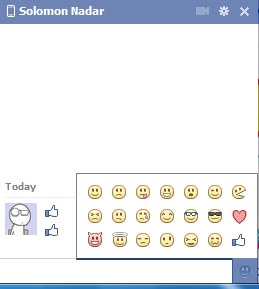 Screen shot of all smiley icons used in Facebook Chat