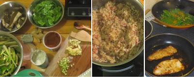 Zubereitung Fisch mit Steinpilzen, gewoktem Mischgemüse und Kokos-Curry-Reis