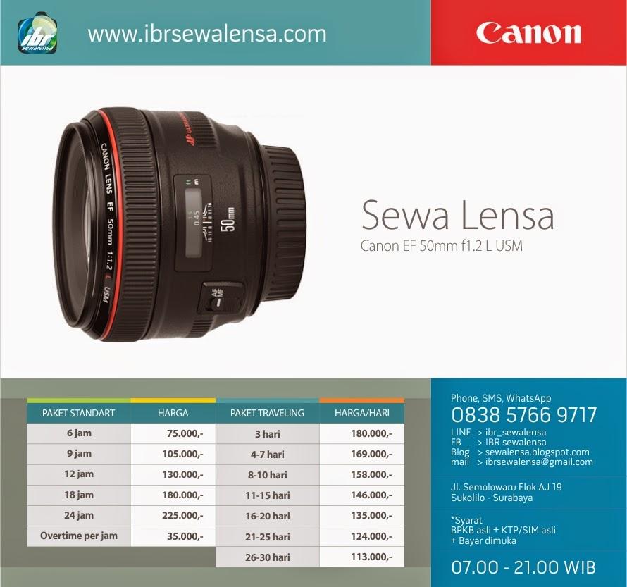 Harga sewa lensa Canon 50 mm F1.2 L USM