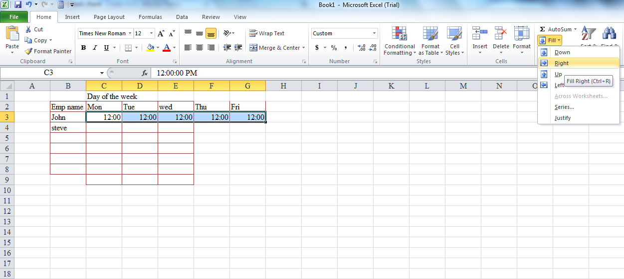 Fill Selected Cells With Same Data Microsoft Office Support