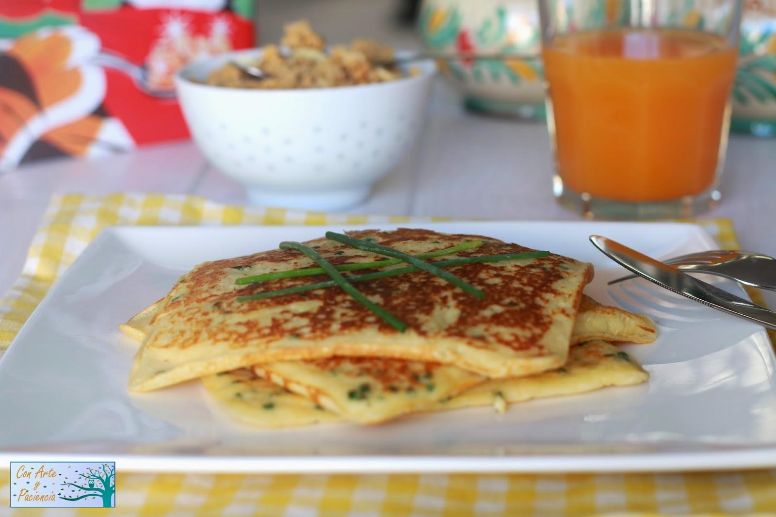 tortitas,pancakes,cebollino,huevo,harina,leche,huevo,egg,milk,sartén,gofres,waffles,mantequilla,desayuno,breakfast,cena,dinner,tomates,cherry,revueltos,