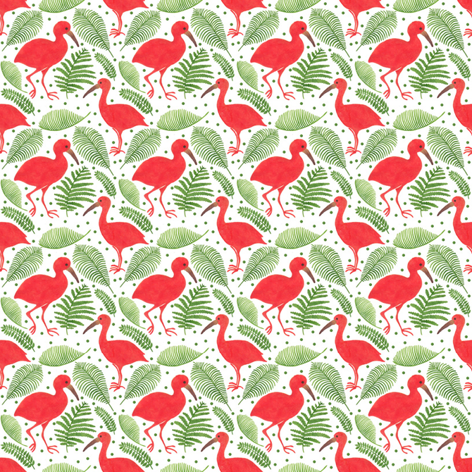 The Beautiful Scarlet Ibis Pattern Printed on Merchandise Illustration by Haidi Shabrina