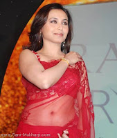 Actress Rani Mukharji in Red transparent saree