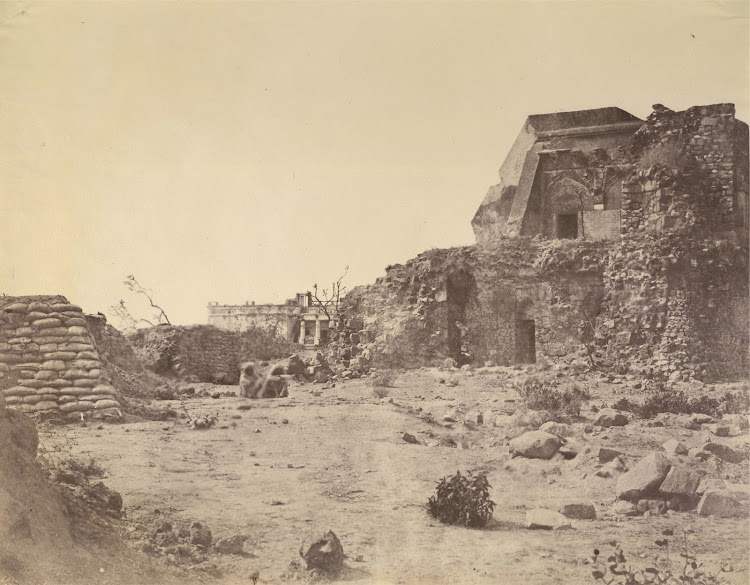 Ruins of Pir Ghaib Observatory and Hindu Rao's House in the Distance in Delhi Ridge - Delhi 1858