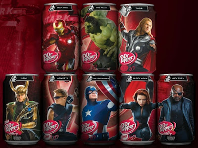 The Avengers on Dr Pepper cans