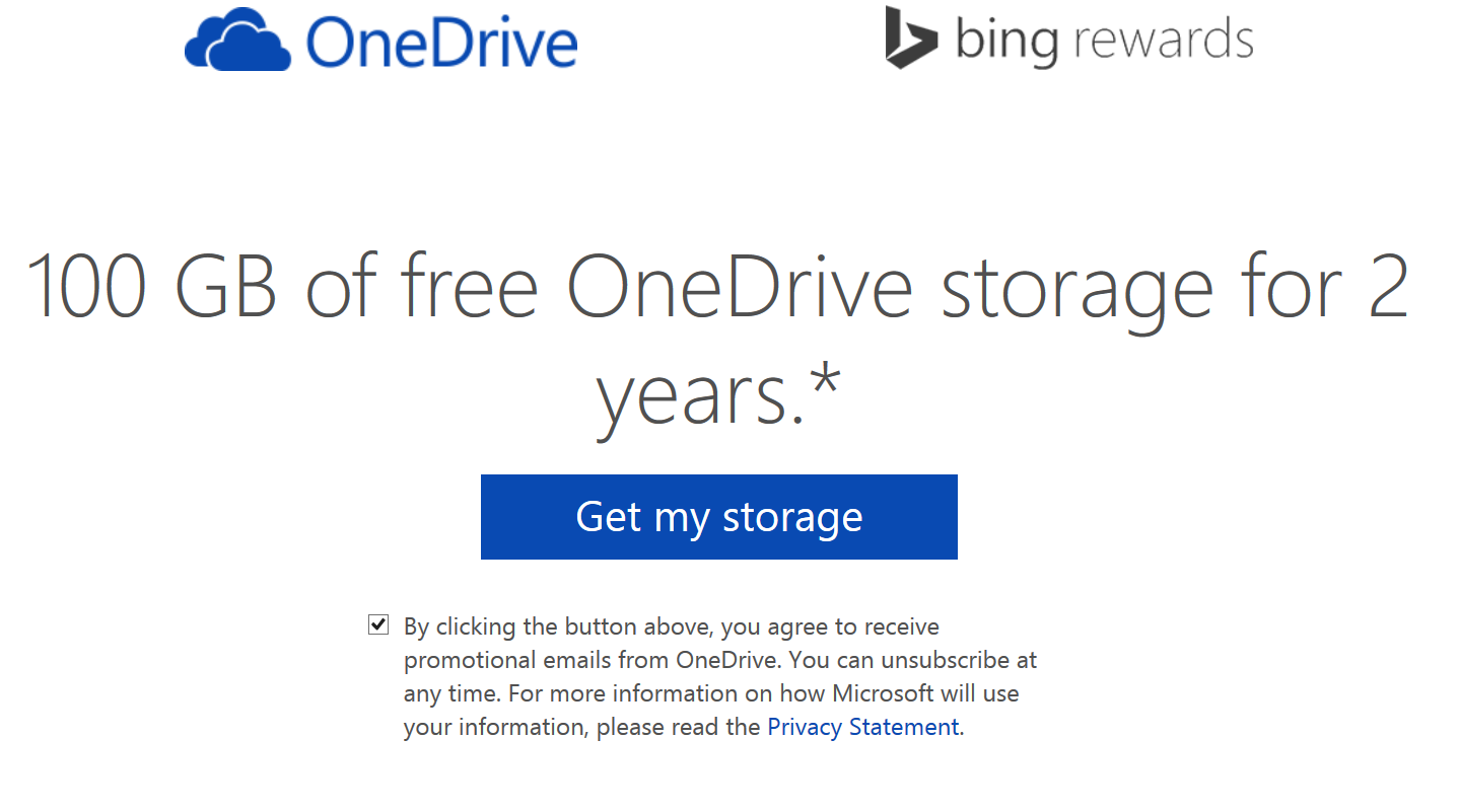 100GB Free OneDrive Storage