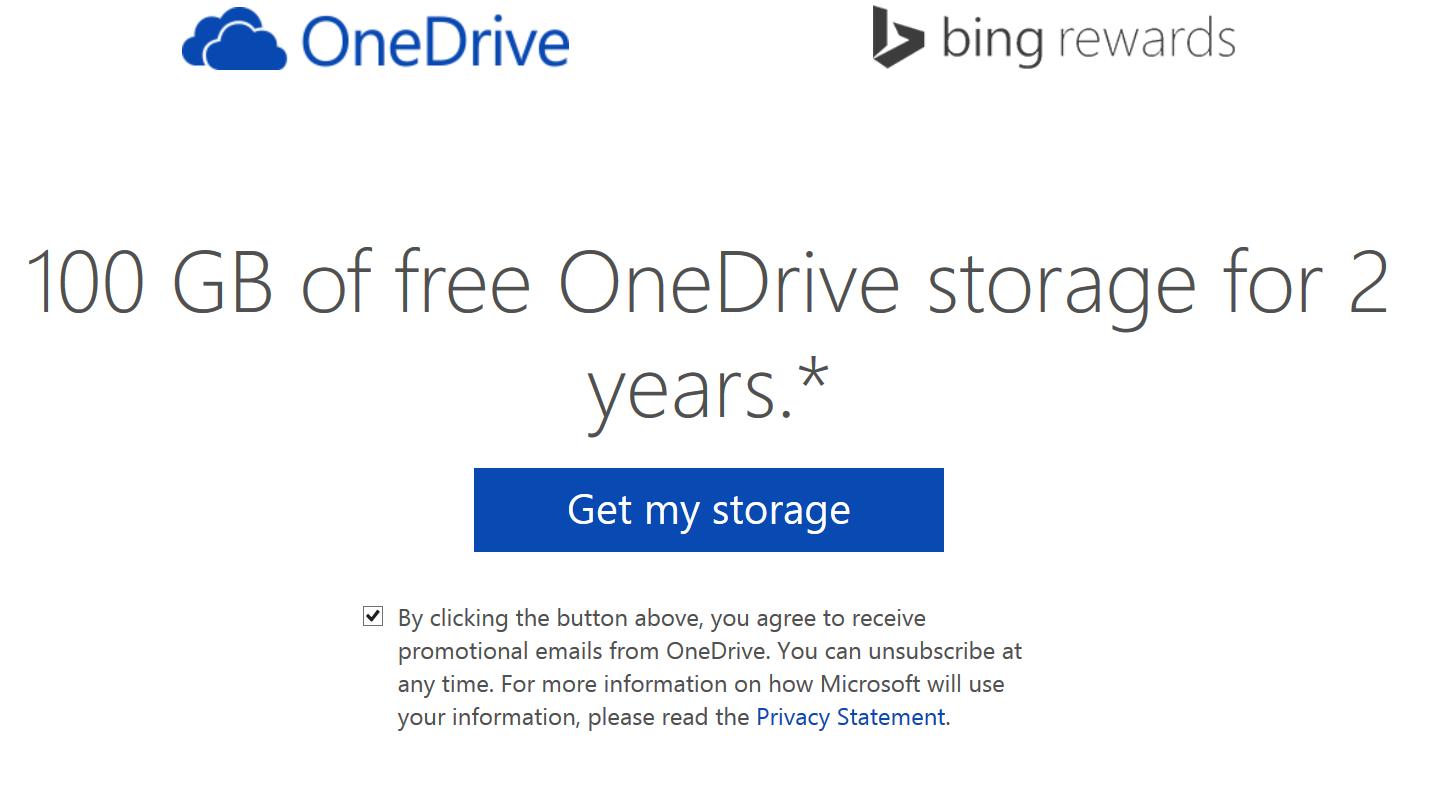 100GB Free OneDrive Storage