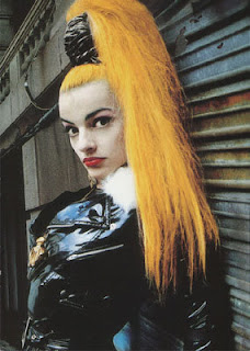 Nina Hagen with yellow hair in ponytail