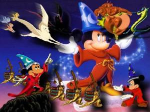 Mickey Mouse in control in Fantasia 1940 disneyjuniorblog.blogspot.com
