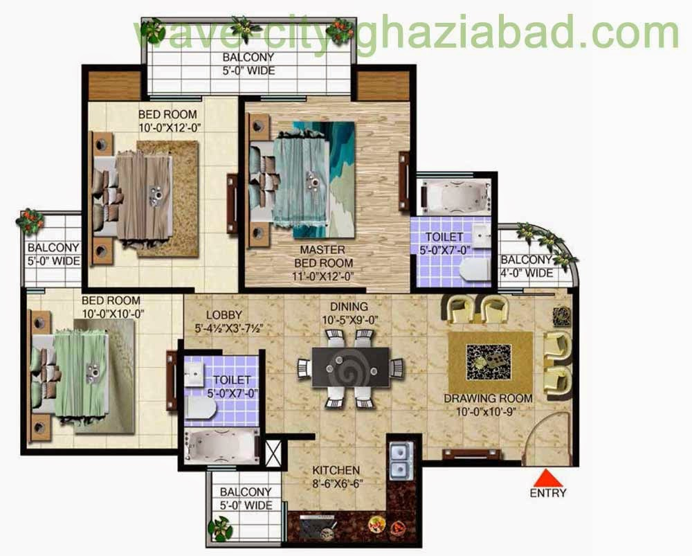 Wave City Mantra Meadows 3BHK APARTMENT / 1295 SQFT