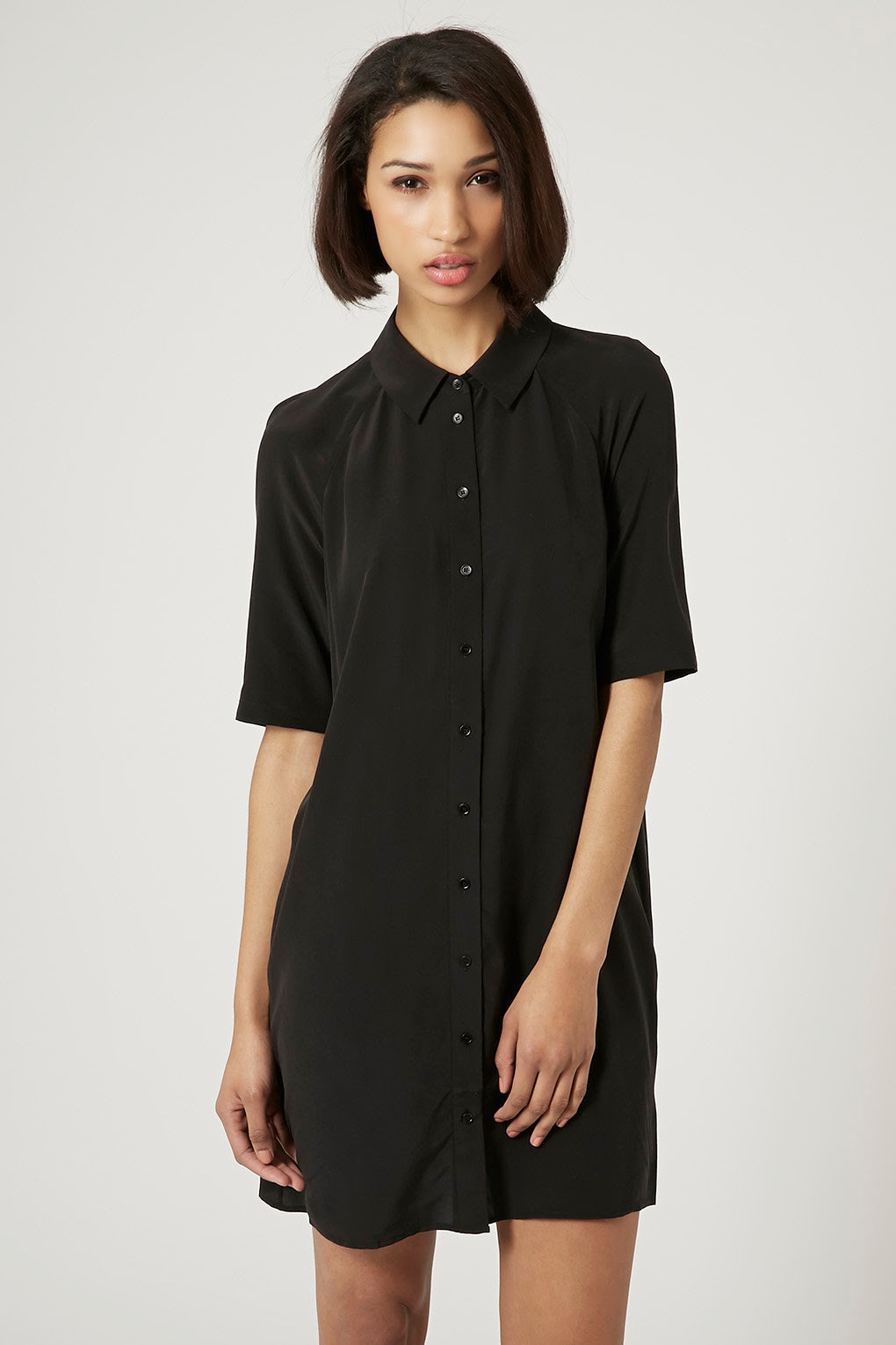 boutique silk shirt dress, black silk shirt dress,