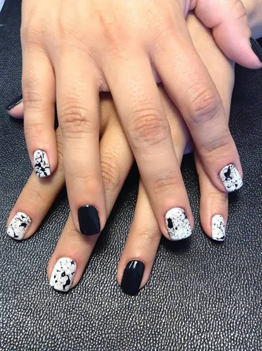 acrylic infill design classic black and white paint spatter design plain black feats LED-polish-manicure-OPI-Nail-Polish-Lacquer-Pedicure-care-natural-healthcare-Gel-Nail-Polish-beauty-Acrylic-Nails-Nail-Art-USA-UK