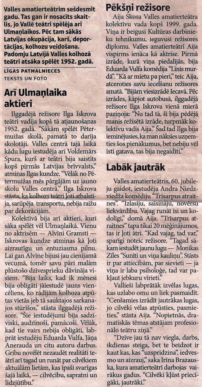 """Fragments no raksta par Valles amatierteātri . Avīze ,, Staburags """" 2012. gada 18. septembris"""