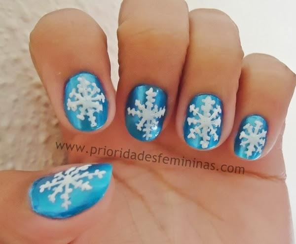 unhas para natal, nail art natal, unhas decoradas neve,