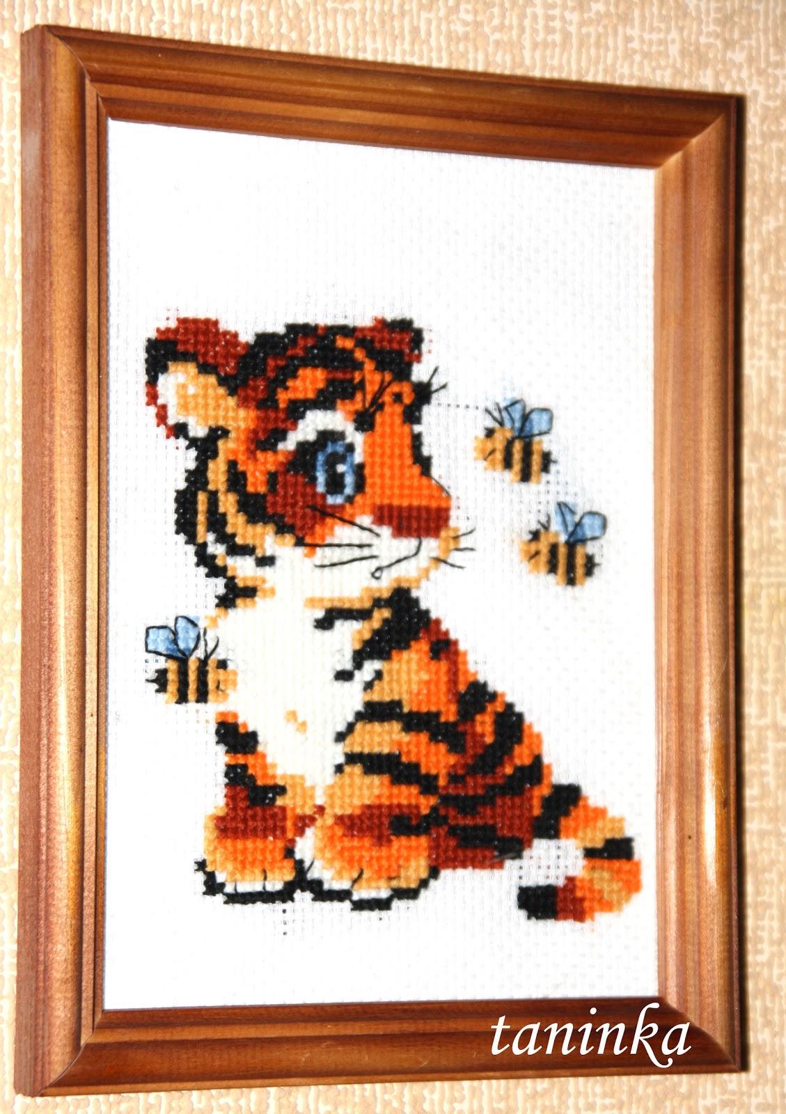 Схема вышивки крестом Тигр на черном 77