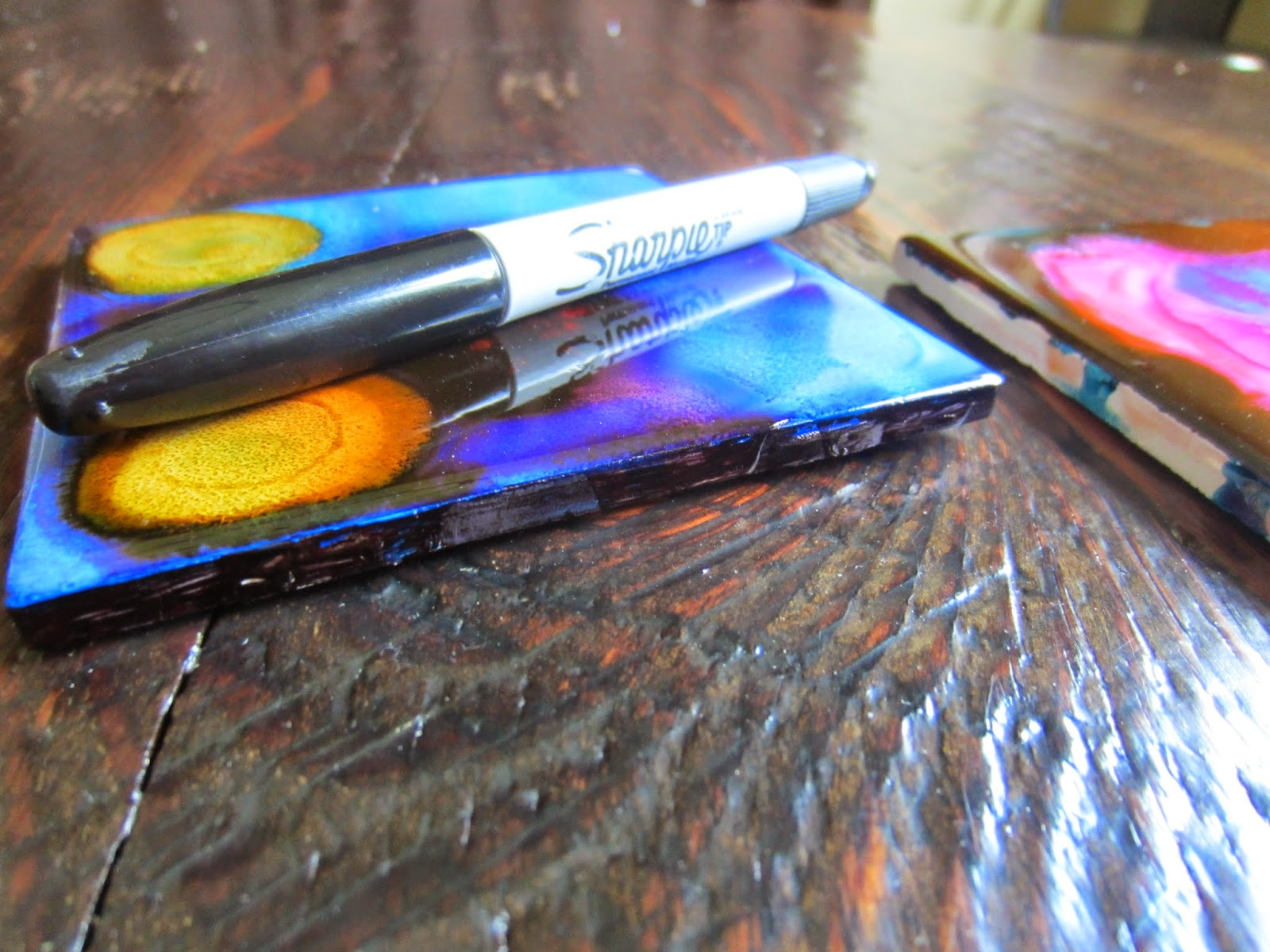 Family art project alcohol ink drink coasters for Best coasters for sweaty drinks