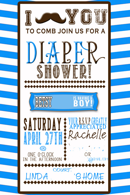 Moustache Baby Shower Invite at www.RaisingMemories.com