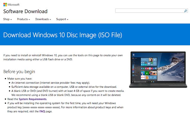 Windows 10 ISO image page