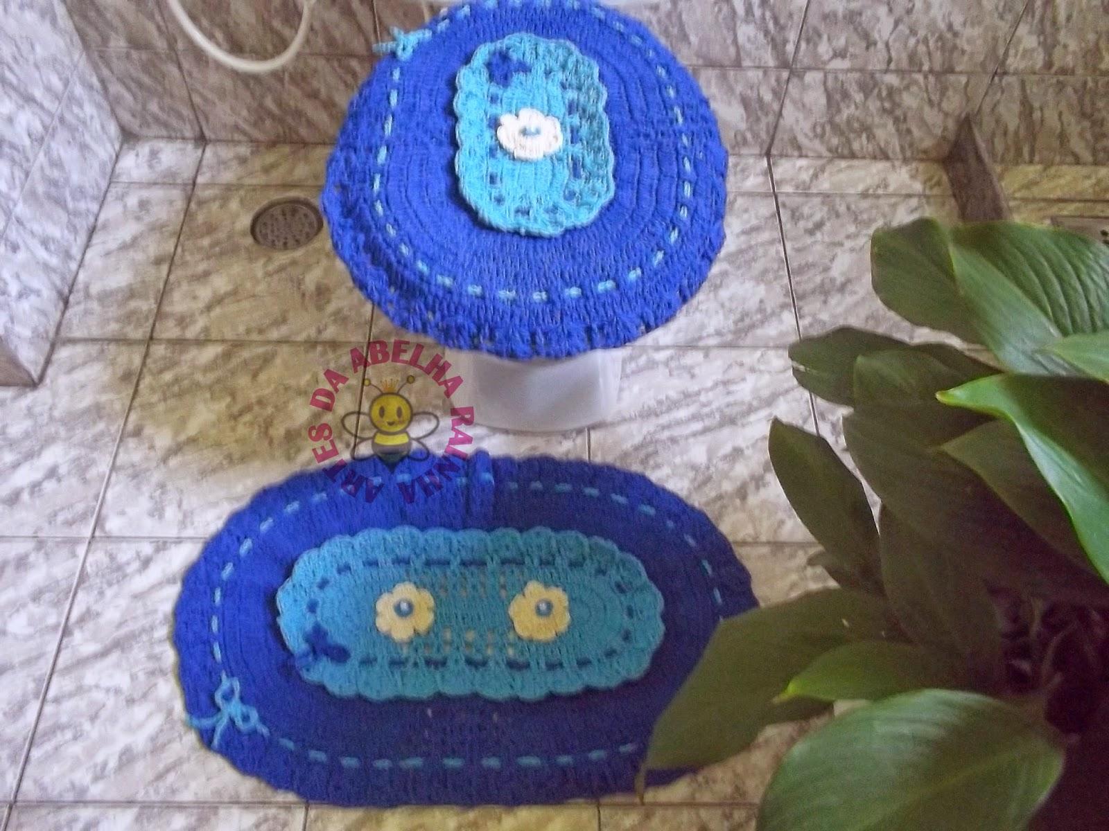 Artes da Abelha Rainha: Jogo de banheiro de crochê em barbante azul #2448A7 1600x1200 Banheiro Com Luz Azul