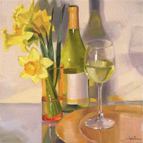 Sedwick studio a glass of chardonnay white wine art for Painting flowers on wine bottles