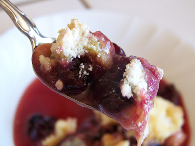 Super easy cherry crumbles
