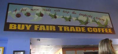 Fair Trade sign with birds