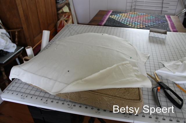 I Laid Some Lining Fabric Over It And Pinned It In Place.