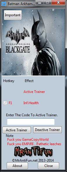 Batman Arkham Origins Blackgate  V1.00 Trainer +1  MrAntiFun