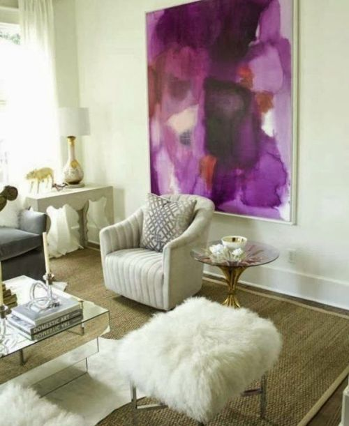 gorgeous Pantone Radiant Orchid picture in a white living room