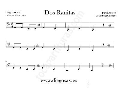 Dos Ranitas partitura para Trombón, Tuba, Violonchelo, Fagot, Bombardino en Clave de Fa
