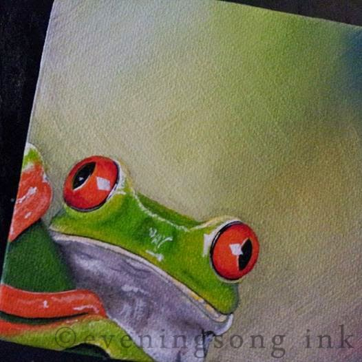 Frog miniature canvas - Eveningsong Ink