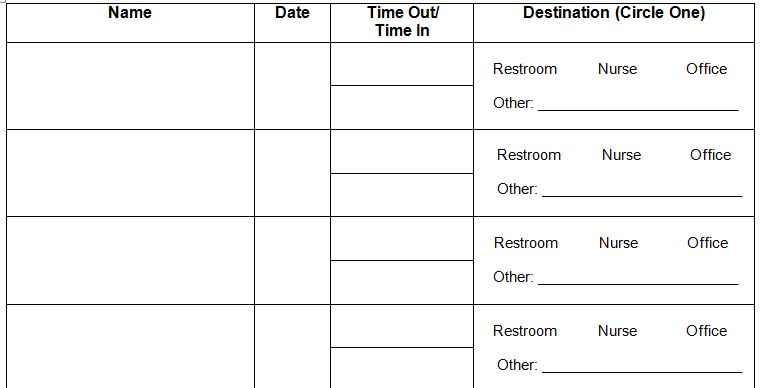Bathroom Sign Up Sheet classroom sign out sheet. student sign-out sheet 44+ sheet