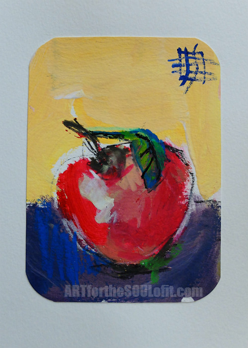 small apple painting acrylic on paper #1