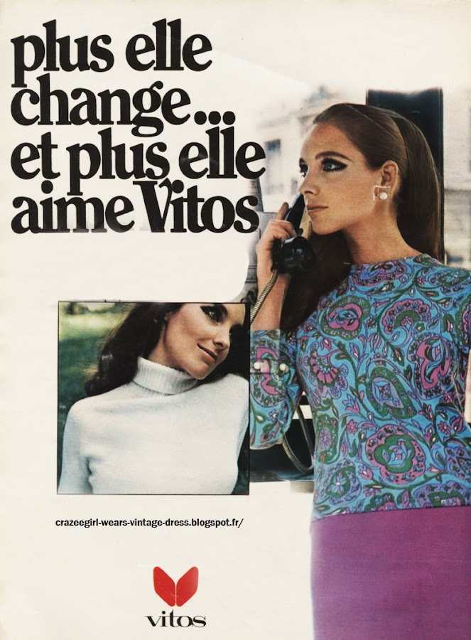 Vitos advert - 1967 floral flower paisley jumper sweater 60s 1960