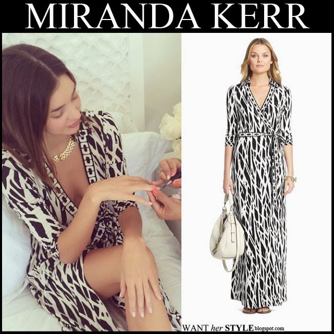 Miranda Kerr in black and white printed maxi wrap dress by DVF want her style october 2014