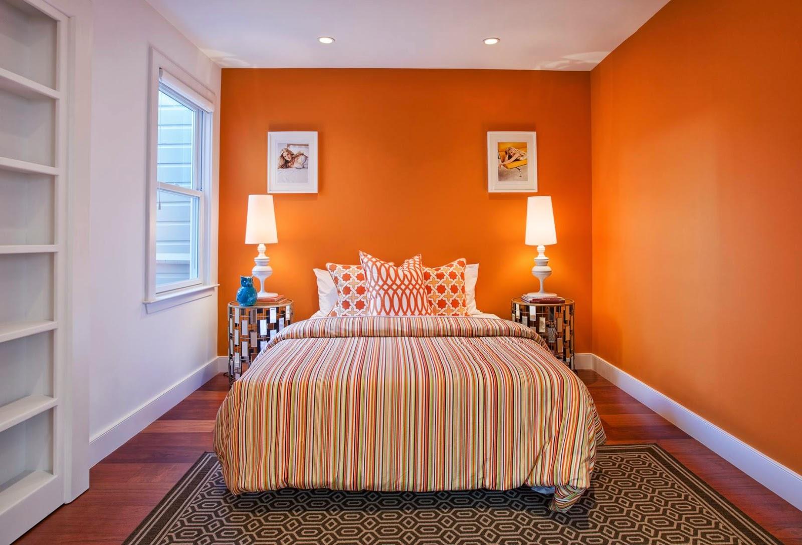 Kombinasi Warna Orange Kamar Tidur Utama