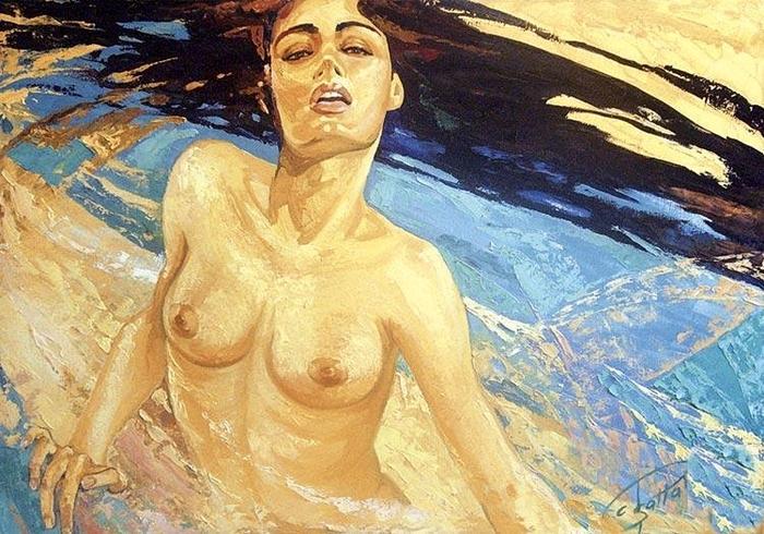 Fattah Hallah Abdel 1970 | pintor simbolista | Tocar Egipto