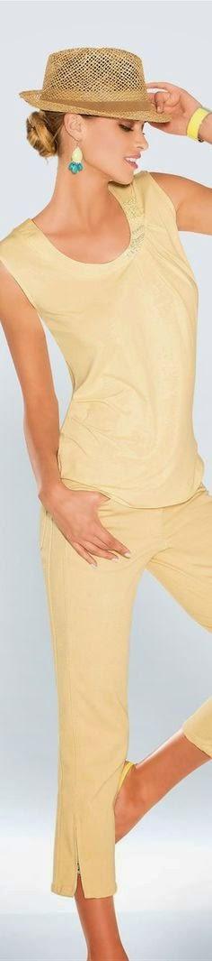 Look tons pastel tendencia primavera verão 2015 calças e camisa amarela