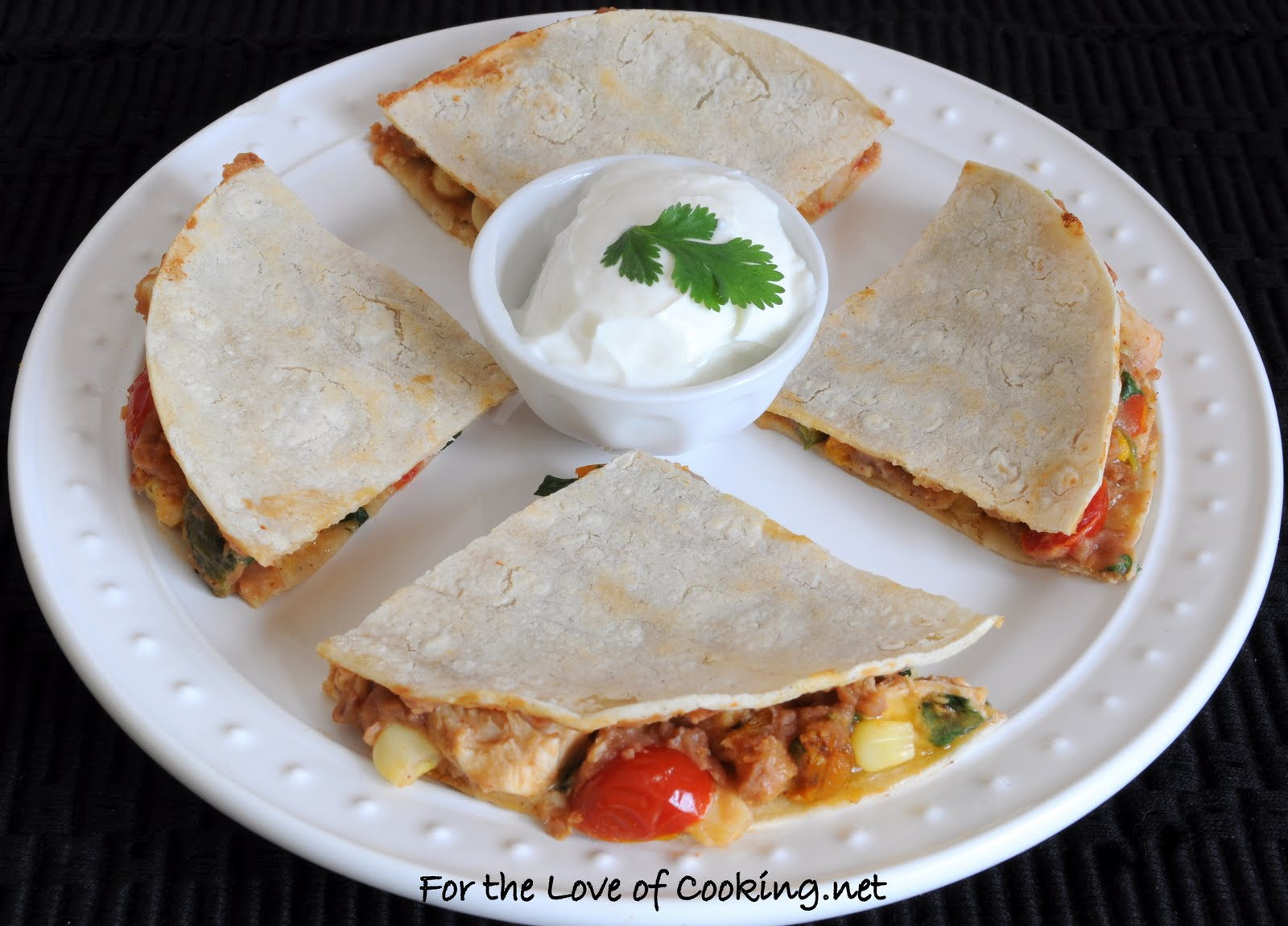 ... Bean Quesadilla With Sharp Cheddar And Sour Cream Recipes — Dishmaps